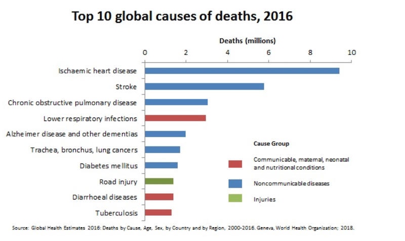 WHO chart showing top 10 global causes of deaths in 2016.