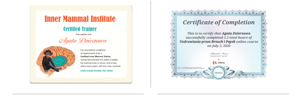 A picture of Inner Mammal Institute and Belly Button Healing certificates.