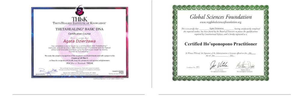 Certyfikaty Theta Healing Basic DNA I Ho'oponopono.