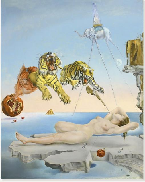 Obraz Salvadora Dali Sen wywołany lotem pszczoły wokół granatu na sekundę przed przebudzeniem