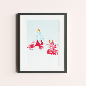 """GRAFIKA """"ŻAR MIŁOŚCI"""" to różowy rysunek mężczyzny z płomieniem na głowie."""