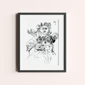 """GRAFIKA """"WENUS"""" to rysunek postaci mitologicznych robiących sobie selfi. Białe tło czarna kreska."""
