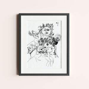 "ILLUSTRATION ""VENUS"" is a drawing of mythological characters taking selfie. Black line white background."