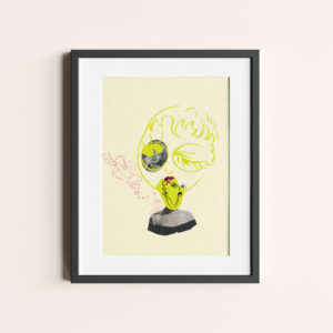 "ILLUSTRATION ""WITH A GRAIN OF SALT"" is a yellow collage with the face of Marilyn Monroe."