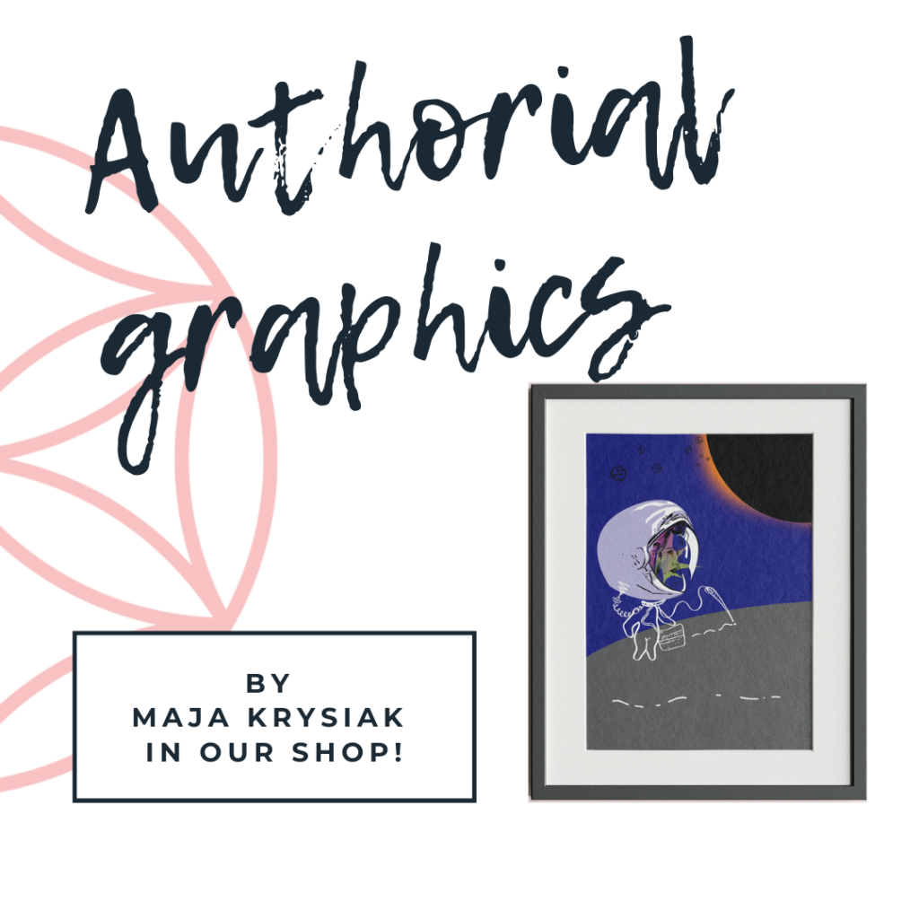 Advertisement for Maja's graphics.