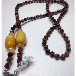 """Łańcuszek do okularów """"Pomyślność"""" to obrazek łańcuszka z kamieni naturalnych w kolorze czekoladowym z dodatkami w kolorze miodowym."""