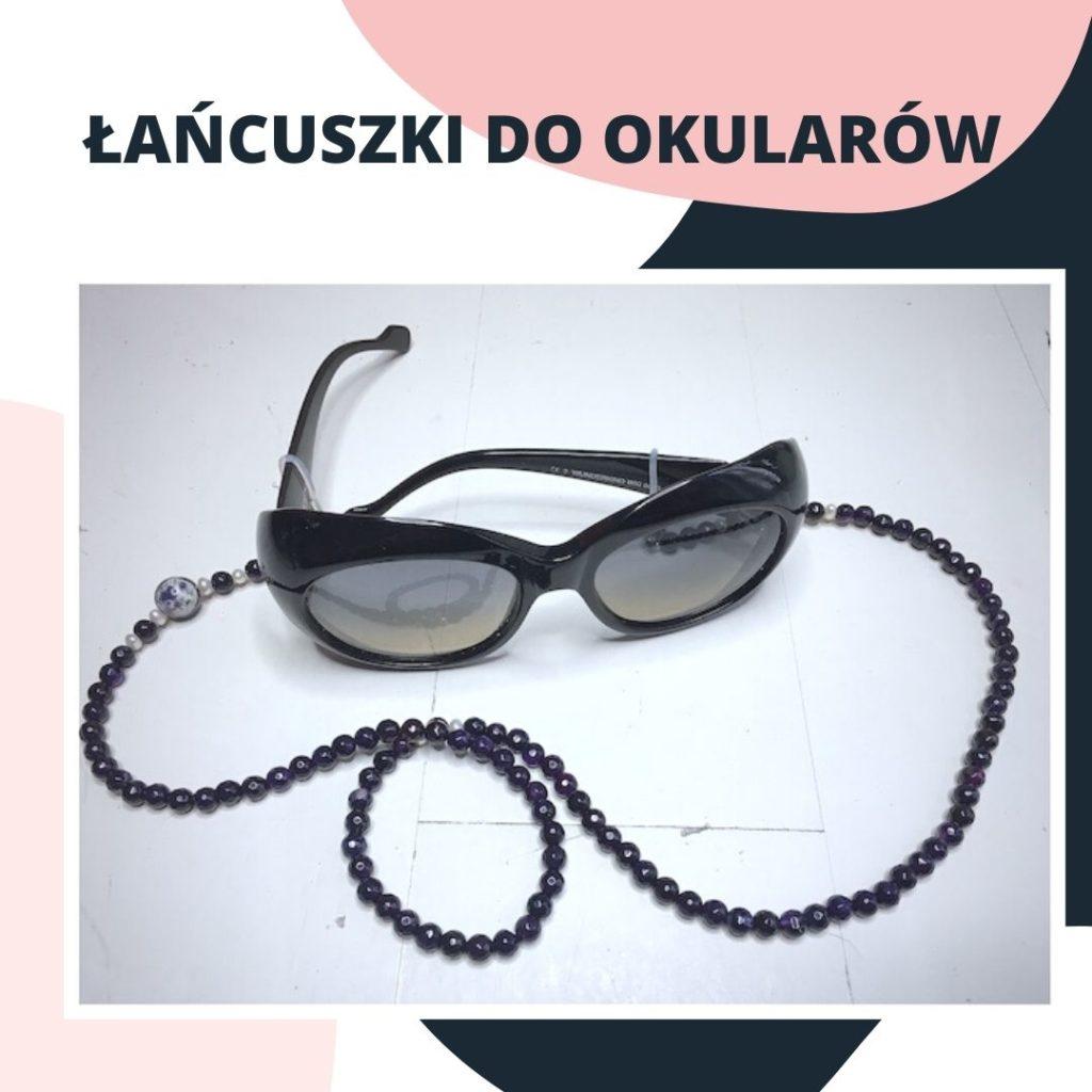 Reklama łańcuszków do okularów z kamieni naturalnych.